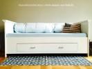 Bett mit Lehne und Schublade Wandbett