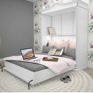 Landhaus Schrankbett 90x200 cm aus massivem Holz - Farbe Weiß