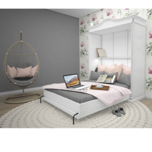 Weißes Schrankbett in verschiedenen Größen, wahlweise horizontal und vertikal, Klappbetten aus Holz