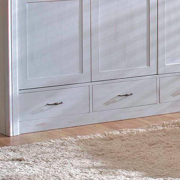 3-türiger Kleiderschrank mit Schubladen in Platin