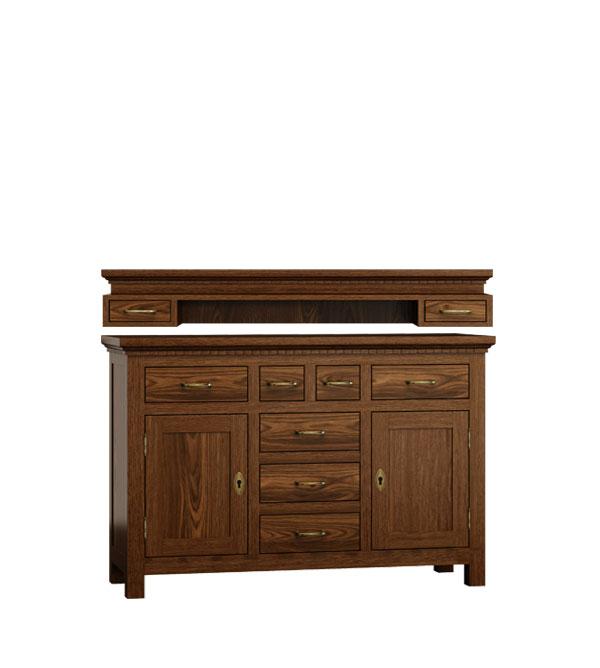 anrichte mit aufsatz klein 2 t rig mit 7 schubladen massiv aus holz. Black Bedroom Furniture Sets. Home Design Ideas
