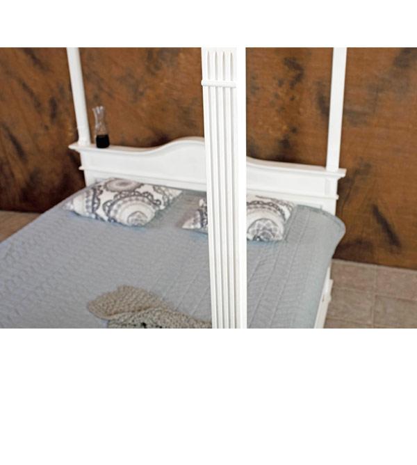 Himmelbett 120x200 cm im Landhausstil Lattenrost, 2 Schubladen