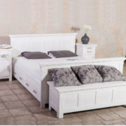 Bett 160x200 cm Burgund klassisch massiv Holz Kiefer