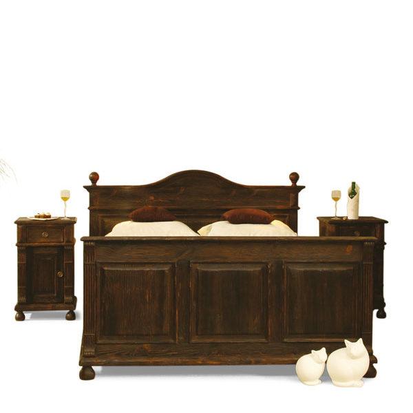 Bett in Braun rustikal Landhausstil