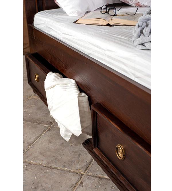 Bettkasten mit Schubladen - Farbe Kolonial, dunkelrot