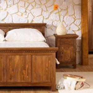 Echtholzbett Kiefer massiv rustikal