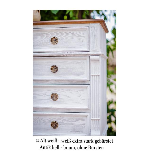 Landhaus Kommode mit Aufsatz klein mit 4 Schubladen - MASSIV AUS HOLZ