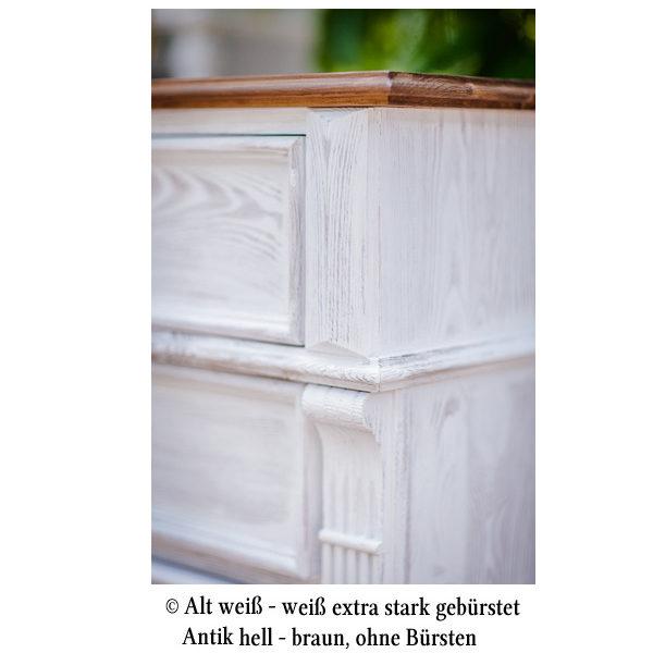 Echtholz Schrank 2-farbig weiß-braun
