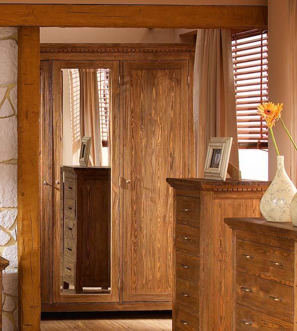 Schrank 2 t rig mit spiegel klassisch massiv aus holz for Schrank rustikal