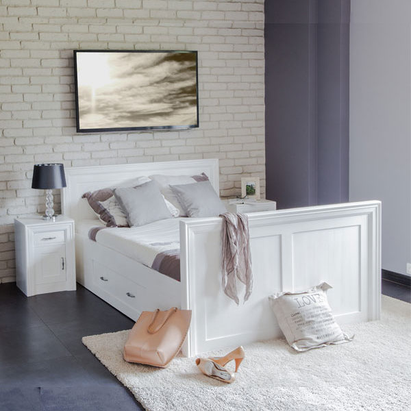 Modernes Einzelbett 90x200 cm Gravit modern massiv Holz Kiefer