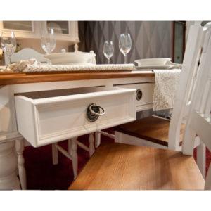 landhaus esstisch mit schubladen zweifarbig blatt in braun korpus in antik weiss