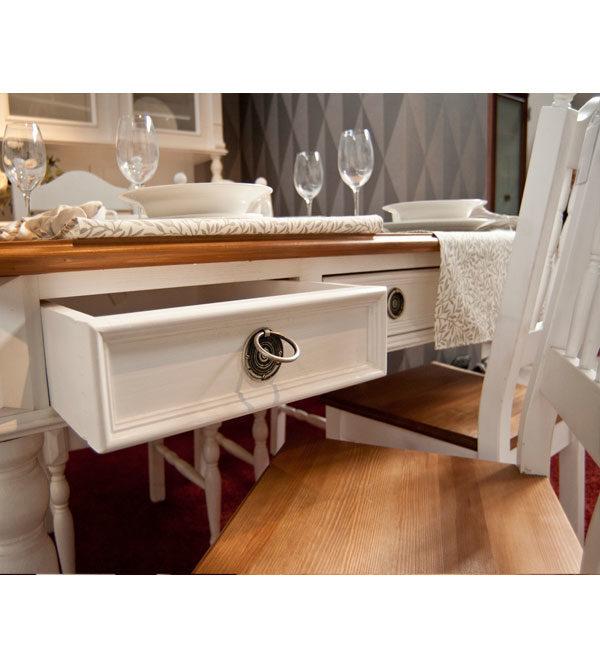 Landhaus Esstisch mit Schubladen, zweifarbig Blatt in Braun, Korpus in Antik weiß