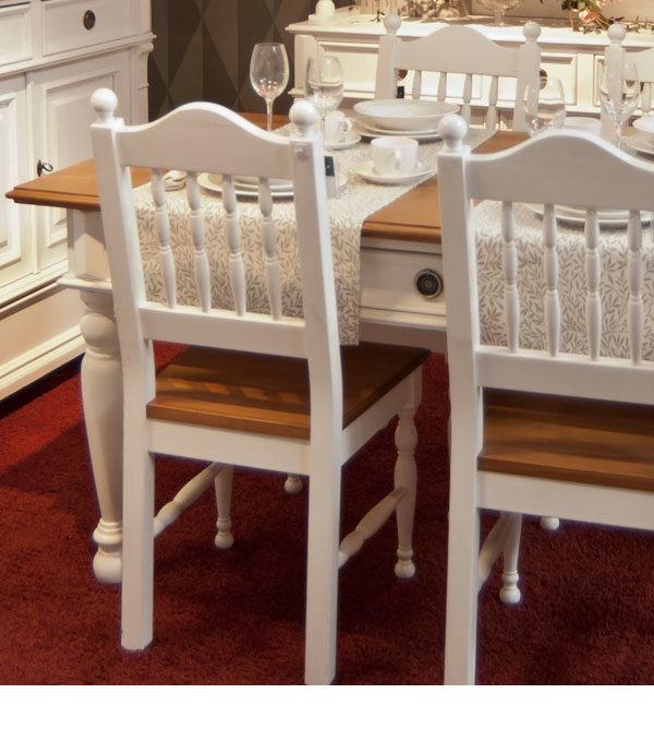 Landhaustisch - Esstisch mit Schubladen, 2-farbig Weiß und Naturbraun