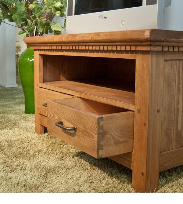 tv fernsehschrank klein mit 2 schubladen massiv aus holz. Black Bedroom Furniture Sets. Home Design Ideas