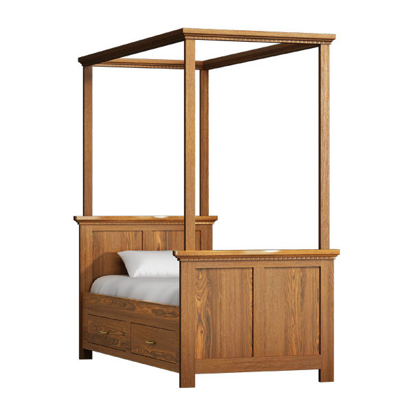 himmelbett 90x200 cm klassisch lattenrost 2 schubladen. Black Bedroom Furniture Sets. Home Design Ideas