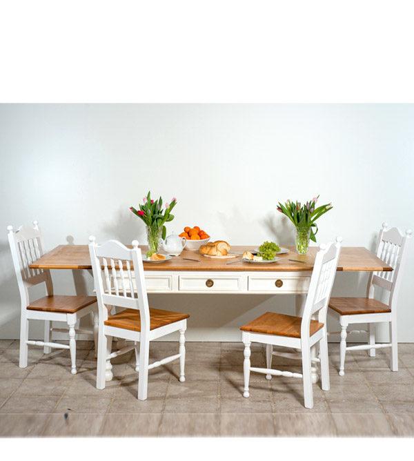 Stühle aus Holz zweifarbig Weiß und Hellbraun Naturwachs