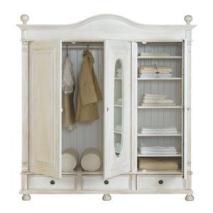 Kleiderschrank weiß landhausstil 3 türig  Landhaus Kleiderschrank 2-türig ohne Spiegel - MASSIV AUS HOLZ