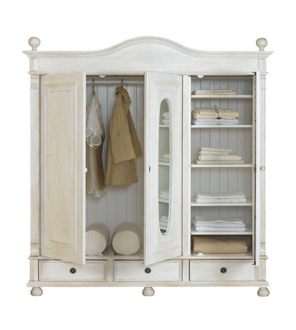 landhaus kleiderschrank 3 t rig mit spiegel massiv aus holz. Black Bedroom Furniture Sets. Home Design Ideas
