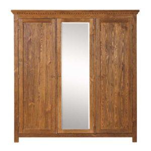 Schrank 3-türig mit Spiegel Holz Kiefer massiv