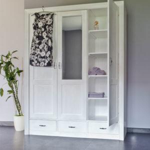 Kleiderschrank mit Spiegel 3-türig massiv Holz Kiefer