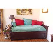 Kolonial Farbe Bett mit Lehne Massivholzmöbel