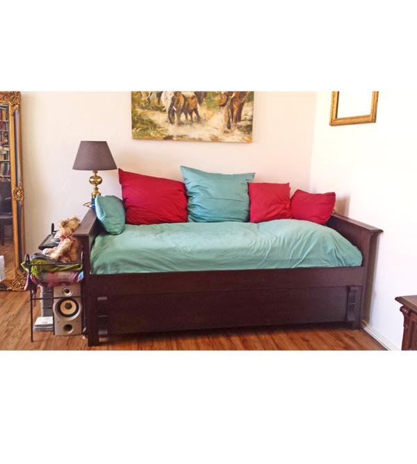 Bett mit lehne 100x200 cm lattenrost 2 schubladen for Bett mit schubladen 100x200