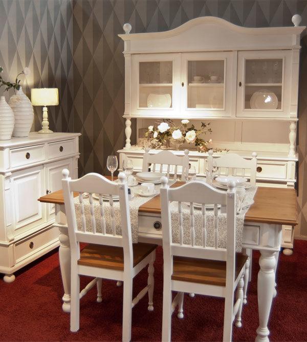 Küche - Esstisch mit Schubladen, 2-farbig Tischplatte in Naturbraun, Korpus in Antik weiß