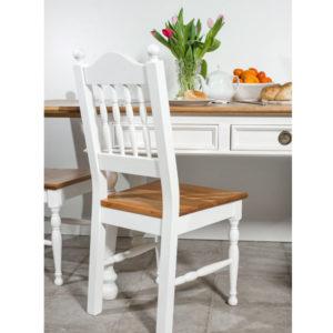 Küchenstuhl zweifarbig Weiß und Naturwachs