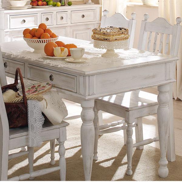 Landhaustisch in Weiß Shabby Chic Stil gewischt
