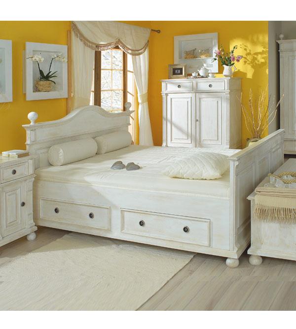 bett 160x200 weis landhaus, landhausbett 160x200 cm lattenrost, 4 schubladen optional - massiv, Design ideen