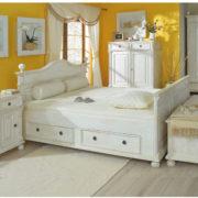 Landhausbett 200x200 mit Schubladen massiv Holz Kiefer