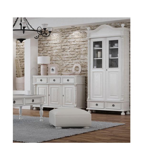 Landhausmöbel Vitrine in Weiß