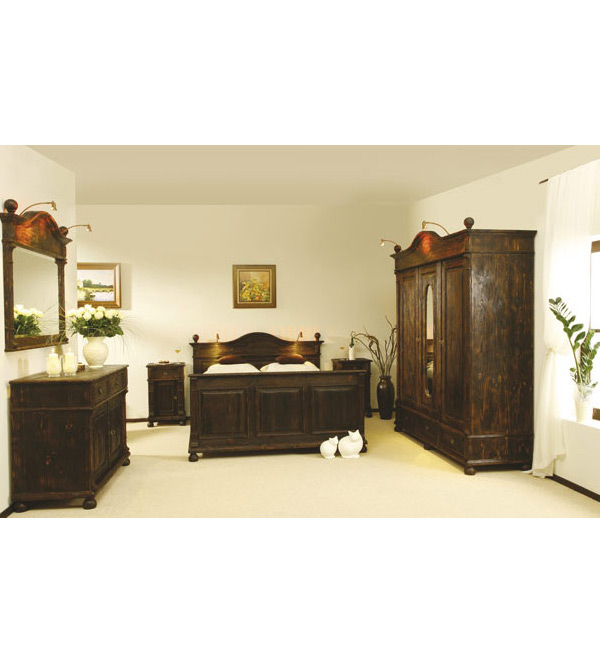 landhaus kleiderschrank 3 t rig mit spiegel massiv aus holz. Black Bedroom Furniture Sets. Home Design Ideas