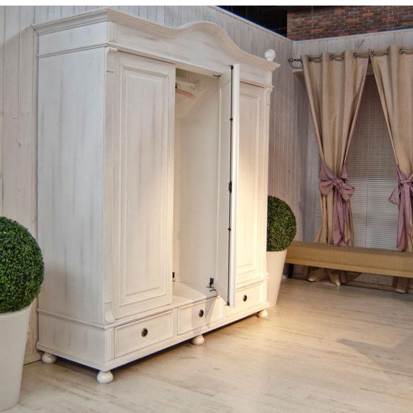 Schlafzimmerschrank weiß landhausstil  Landhaus Kleiderschrank 3-türig mit Spiegel - MASSIV AUS HOLZ