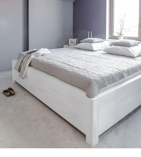 Massivholz Betten in Weiß shabby chic