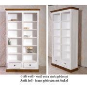 Massivholz Bücherregale zweifarbig weiß-braun