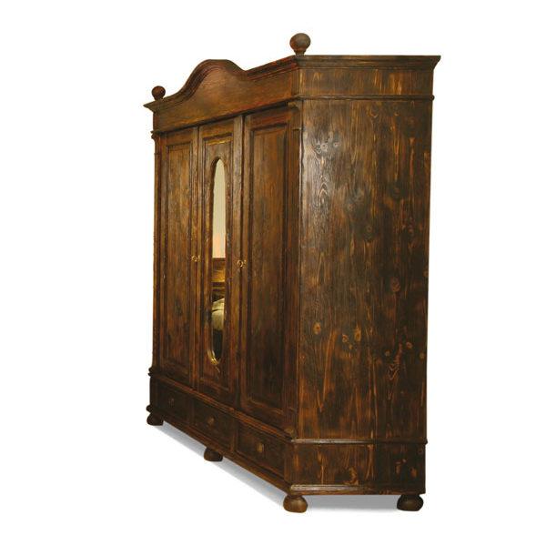 Massivholz Kleiderschrank in Antik dunkel braun rustikal gebürstet