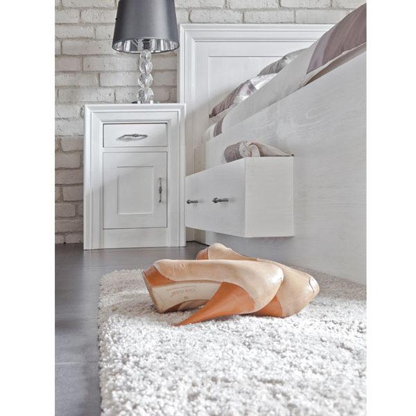 Nachtschrank modern massiv Holz in Weiß