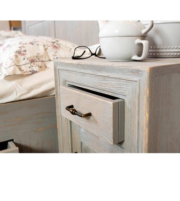 Nachttisch in Grau rustikal gebürstet