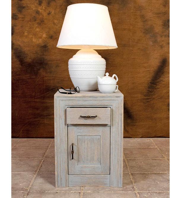 Holz Nachttisch Optik rustikal grau