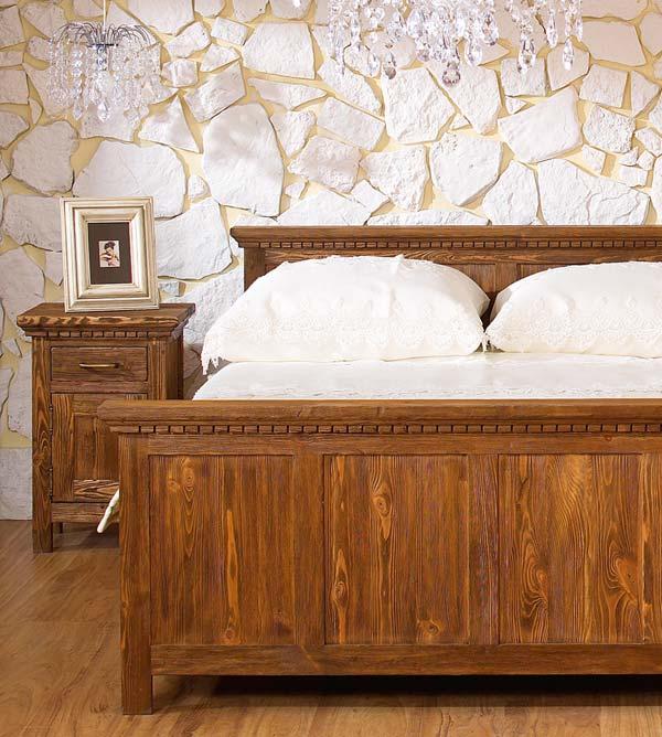 Holzbett rustikal hoch  Bett 160x200 cm klassisch Lattenrost, 4 Schubladen optional ...