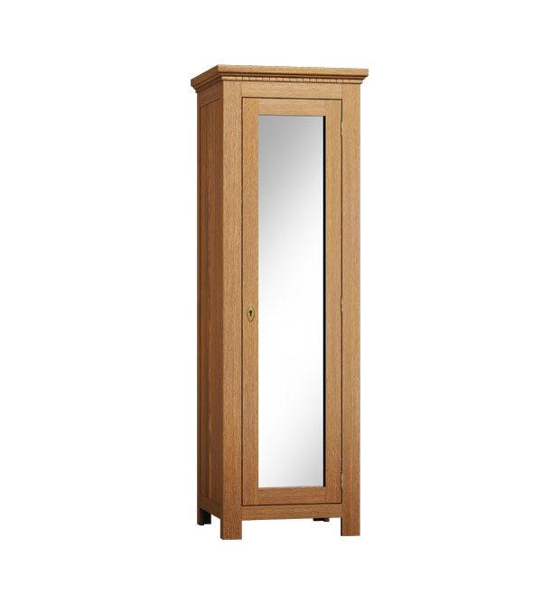 Schrank 1-türig mit Spiegel, massiv Holz Kiefer