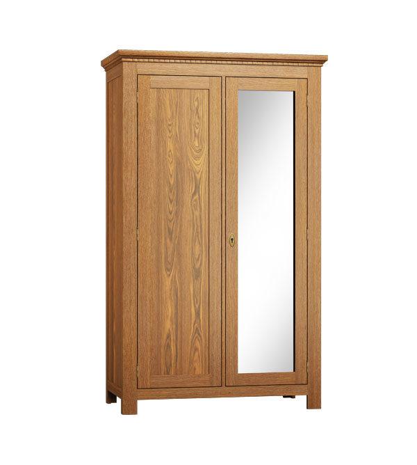 Schrank 2-türig mit Spiegel, Holz Kiefer massiv