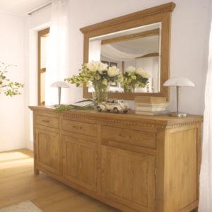 Sideboard Burgund groß massiv Holz Kiefer