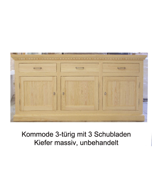 Sideboard aus massivem Kiefernholz unbehandelt