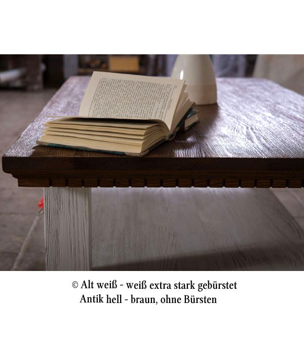 Weißer Couchtisch massiv Holz rustikal