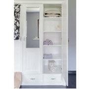 Weißer Kleiderschrank mit Spiegel MassivholzmöbelWeißer Kleiderschrank mit Spiegel