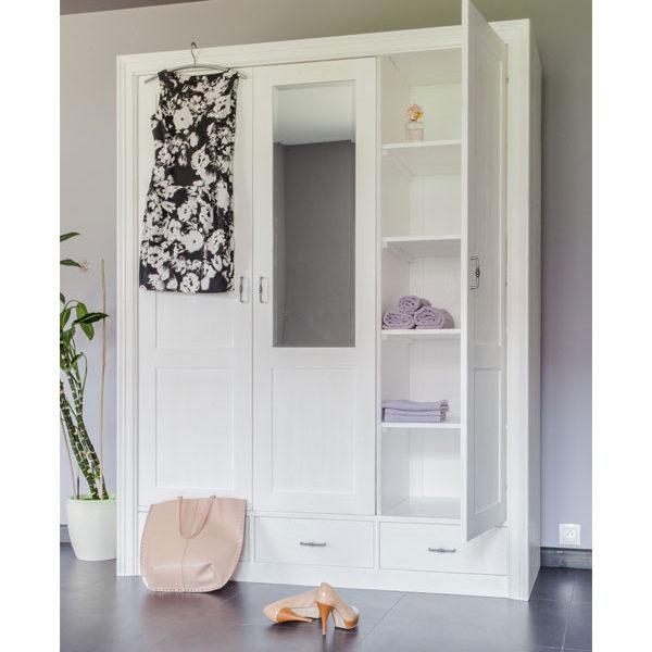 Weißer Massivholzschrank-Kleiderschrank