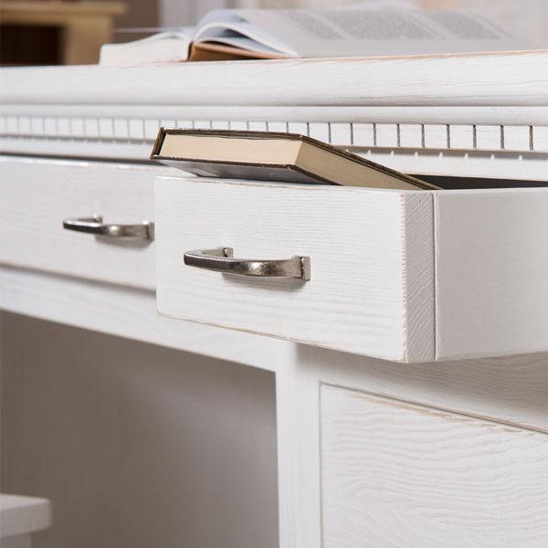 Weißer Schreibtisch massiv Holz Kiefer