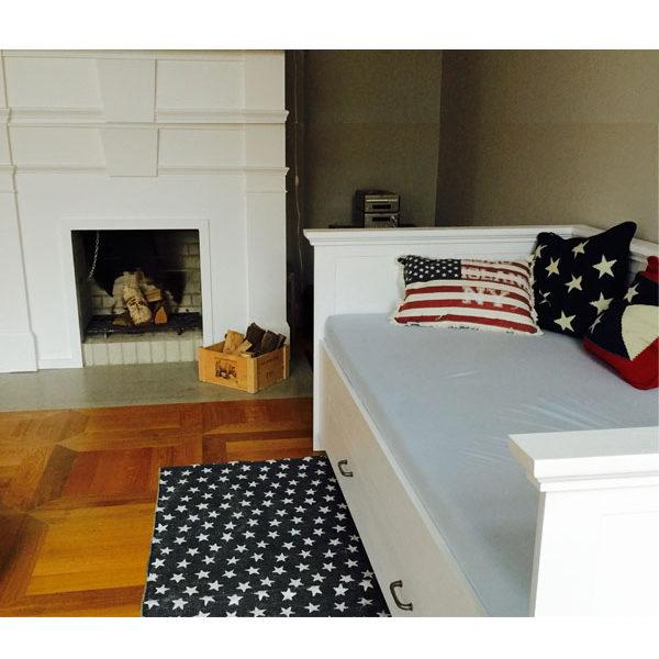 Weißes Bett mit Lehne massiv Holz Kiefer